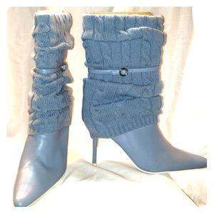 Blue leg warmer boots